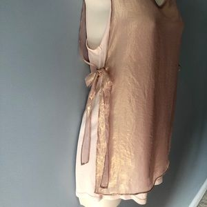 Anthropologie Deletta Tank Top w/Sheer Overlay XS